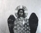 Archangel Gabriel, multi-original drawing with silver leaf 12x12 in