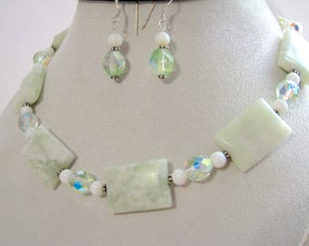 SALE 40% OFF, Green White Peace Jade Necklace & Earrings, Opal, Crystals, Pearls, Fancy Sterling Silver Gift Set, Ready To Ship