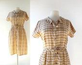 20% off sale Vintage 1960s Dress | Succulent Garden | Plaid Dress | 60s Dress | M L