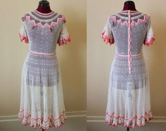 1970s 30s style Lim's white crochet dress