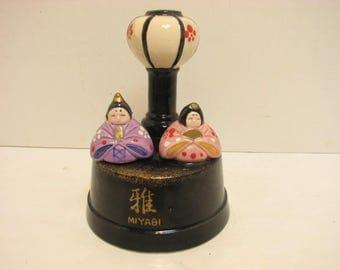 Vintage Miyabi Japanese Musical Go- Round Figurine Geisha Girl Man & Lantern Music Box