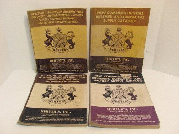 4 Vintage Herters Catalogs, 1950s Hunting Reloading Catalog
