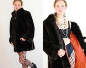 sale 25% off Glam Faux Fur Coat Vintage 70s Black Disco Glam JORDACHE Made in the USA Faux Mink Fur Coat (s m l)