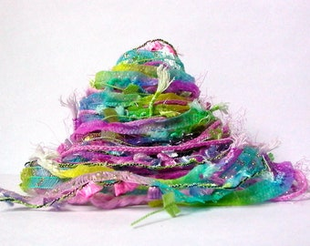 sleeping beauty fiber effects™  art yarn bundle mixed media ribbon textile fiber pack 12yd . orchid pink robins egg blue yellow-green