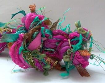 gypsy forest dream weaver effects™ 30yd art yarn fiber bundle mixed media textile craft kit luxury ribbons wools sari silk teal magenta gold