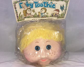 "Vintage Baby Toothie Doll Head 4 1/2"" Yellow Braided Hair"