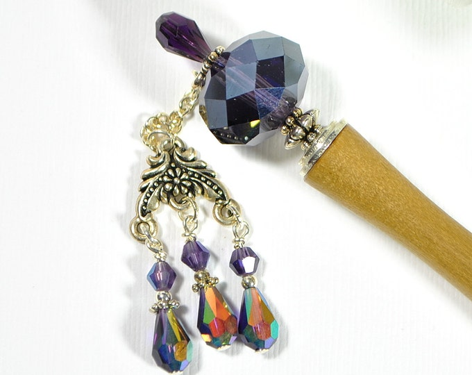 "Purple Hairstick Dangle Hair Stick Gypsy Hair Charm Japanese Hair Chopstick Handmade Hair Pin Purple Hair Bead - ""Rogue"""