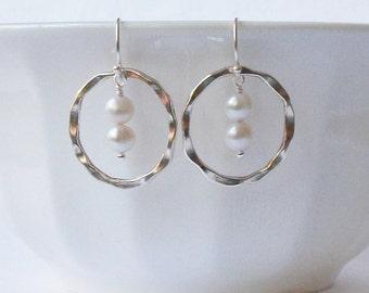 Circle Freshwater Pearl Earrings