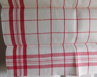 Vintage RED Checked Over-Sized Kitchen Towel