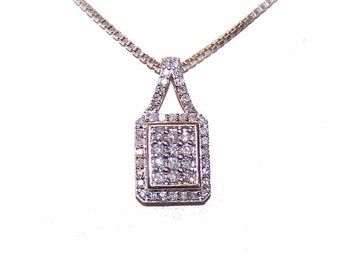 Vintage 10K Gold & .60CT TW Diamond Pendant with Sterling Silver Box Chain