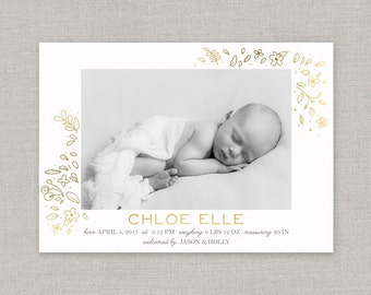 Baby Girl Birth Announcement - Chloe