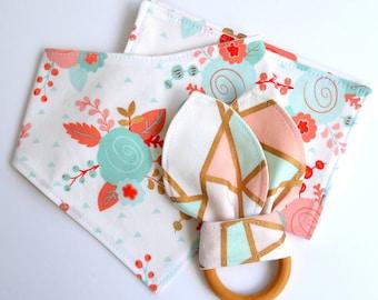 Baby Gift Set, Eco- Organic Drool Bib, Burp Cloth , Natural Wooden Teething Ring, Blush  Pink + Gold, Baby Girl Shower Gift, Modern Baby