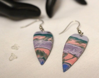 Batik Long Shield Dangle Earrings no.3