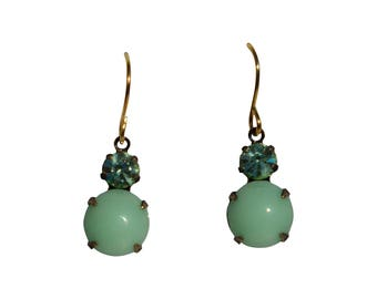 Mojito Earrings - Vintage Rhinestone Glass Jewel