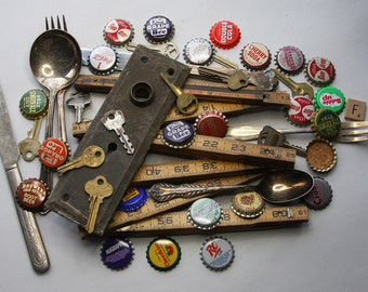 Vintage Lot- Assemblage Supply- Ruler Bottlecaps- Escutcheon Plate- Keys Flatware- Mixed Media Supply- Found Object- P2
