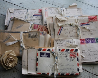 Handwritten LETTERS War Correspondence- Script Writing early 1940's- Military Serviceman- Stack of Letters- Air Mail