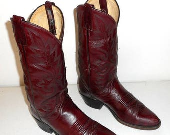 Mens 8 D Cowboy Boots Deep Burgundy Wine Dan Post Western Wear Womens 9.5
