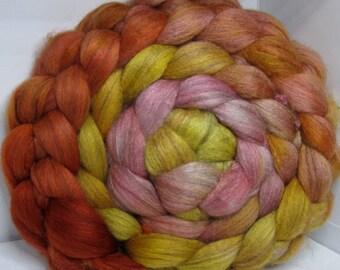 Merino Yak Bombyx Silk 60/20/20 Ecru Roving Combed Top - 5oz - Marmalade 1 - OOaK