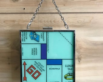 Monopoly game board Box clutch in Nickel finish