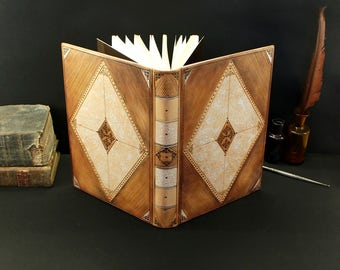 Natural leather journal with tooled decoration - Kaleidoscope of Dreams
