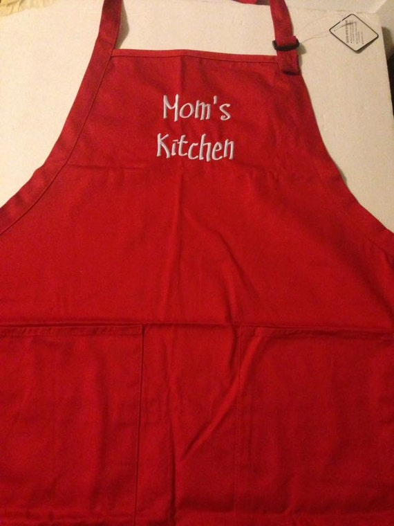 Mom's Kitchen Red Apron  Can be personalized also Perfect Christmas Gift!