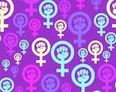 Purple Feminism Fabric - Feminist Symbol In Purple By Spacefem - Womens March Political Protest Cotton Fabric By The Yard With Spoonflower
