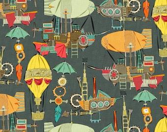 Steampunk Fabric - Steampunk Sky Dark By Scrummy - Hot Air Balloon Steampunk Nursery Cotton Fabric By The Yard With Spoonflower
