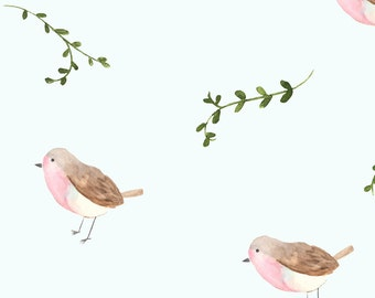 Robin bird nursery etsy for Bird nursery fabric