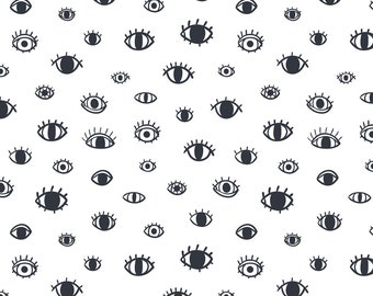 Eyes Fabric - Eyes By Stolenpencil - Black and White Eyeballs Cotton Fabric By The Yard With Spoonflower