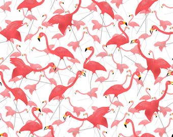Funny Flamingoes Fabric - Lawn Flamingo Hot Pink 2 By Eclectic House - Pink Summer Flamingoes Cotton Fabric By The Yard With Spoonflower