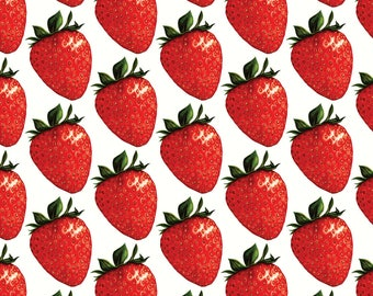 Retro Summer Fruit Fabric - Strawberry By Kellygilleran - Summer Strawberry Kitchen Decor Cotton Fabric By The Yard With Spoonflower