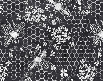 Chalk Fabric - Honey, Bee Mine Chalk Hexigon By Vo Aka Virginiao - Chalk Cotton Fabric By The Yard With Spoonflower