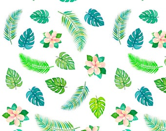 Tropical Leaves Fabric - Tropical Floral By Martadalloul - Tropical Summer Leaves Beach Decor Cotton Fabric By The Yard With Spoonflower