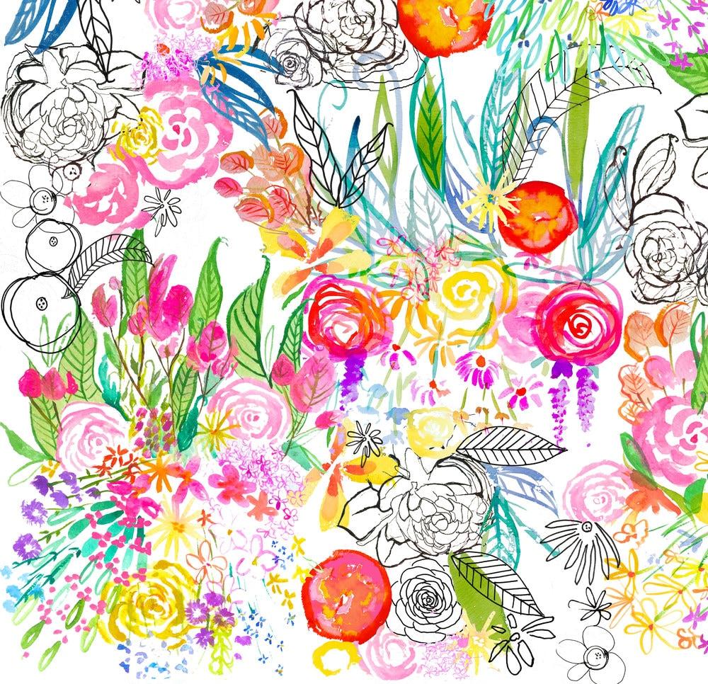 Watercolor Floral Fabric Botanical Sketchbook Large
