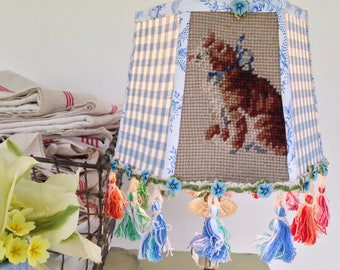 "Kitty Lamp Shade, Needlepoint Lampshade + Blue Gingham + Euro Cotton Trim + Funky Tassels, 6""t x 8""b x 6"" high, clip top, Cat Lover Gift"
