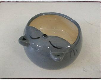 Cute Gray Cat Salt Pig-Salt Cellar/Sponge Holder by misunrie