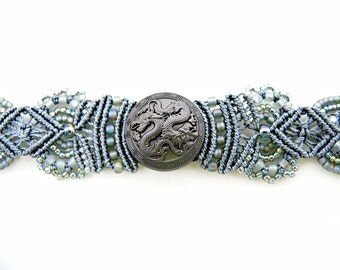 Twin Dragon Beaded Macrame Bracelet - Macrame Bracelet - Fantasy Creature - Mythical - Dragons Bracelet