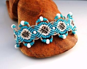 White, Aqua and Sepia Macrame Bracelet II - Micro Macrame Bracelet - Sand and Sea Bracelet - Beach Bracelet - Macrame Jewelry