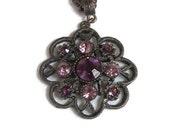 Purple & Pink Rhinestone Pendant Necklace Vintage Filigree signed 1928