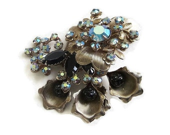 Aurora Borealis and Black Rhinestone Brooch Vintage Layered Spray Flower