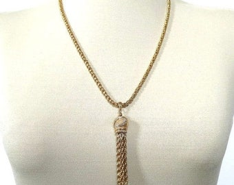 Textured Tassel Pendant Necklace and Braided Chain Vintage