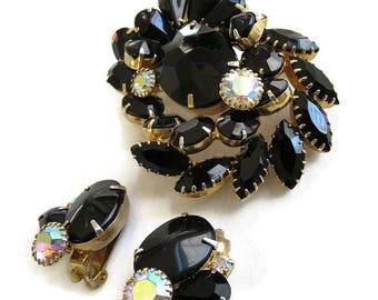 Black & Aurora Borealis Rhinestone Brooch and Earrings Set Vintage