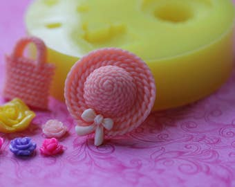 Silicone Hat Mold Purse Dollhouse Rose Mold Cabochon Mold Flower Easter DIY Cupcake Topper Cake Pop Decorations Sugar Mold Chocolate Fondant