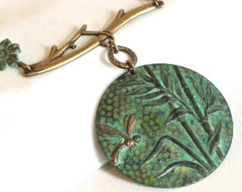 Dragonfly Pendant Necklace - Medallion, Verdigris Patina, Brass, Dragonfly Jewelry, Long Necklace