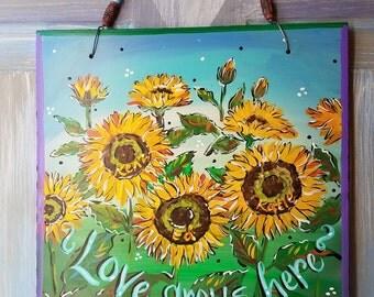Garden Tile, Sunflowers, Garden Stone