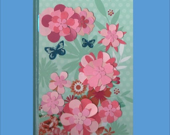 Hand Decorated Retro Floral Themed Journal or Guestbook 2 variations - Free Ship in USA