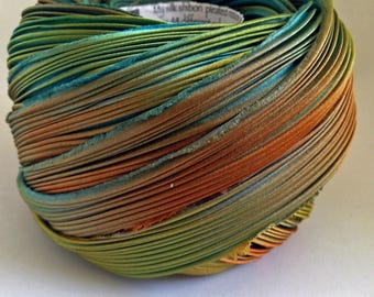 Shibori Ribbon Hand Dyed Shibori Silk Ribbon Taos Turquoise Orange Green Shibori Girl