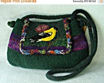 MY BIRTHDAY SALE Felted Purse,felted handbag, bird art, American Goldfinch, needle felt bird,hand knit purse, wool purse
