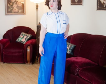 Vintage 1940s Pajamas - Lovely Bright White and Royal Blue 40s Loungewear Top and Wide Leg Pants with Dainty Embroidery