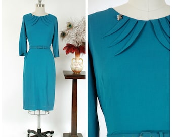 Vintage 1940s Dress - Late 40s Post War Muted Turquoise Cocktail Dress with Pleats from the Neckline and Single Pocket